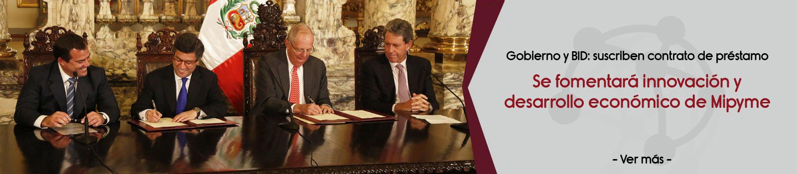 Gobierno firmó contrato de préstamo con el BID para fomentar la innovación y el desarrollo económico de las Mipyme